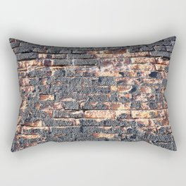 black orange urban worn damaged brick wall photo texture Rectangular Pillow