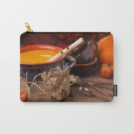 Homemade pumpkin soup on a rustic table with autumn decorations Carry-All Pouch