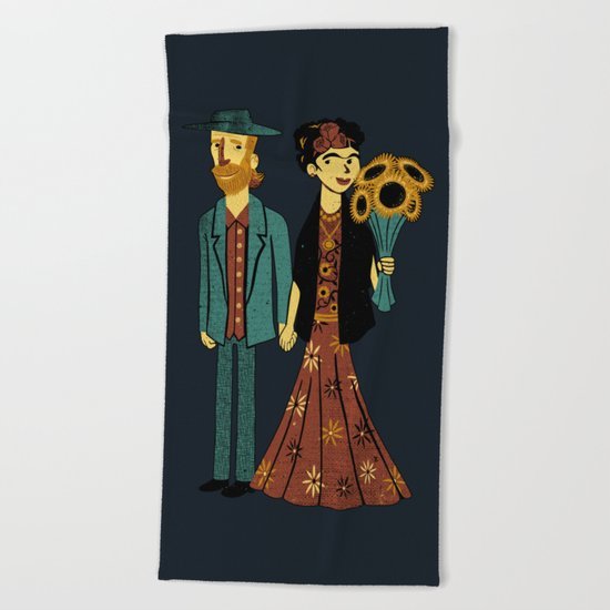 Love is Art Frida Kahlo and Van Gogh Beach Towel