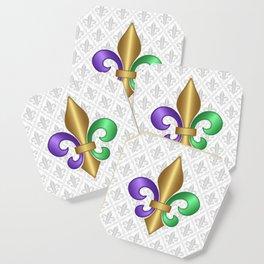 Purple Green and Gold Fleur-de-Lis on Gray Pattern Coaster