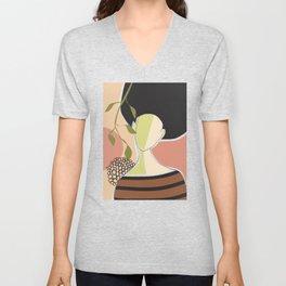 Girl and abricot tree Unisex V-Neck