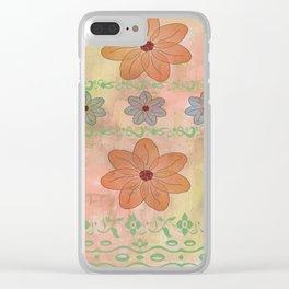 Orange floral pattern Clear iPhone Case