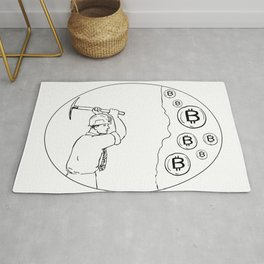 Bitcoin Miner Cryptocurrency Drawing Rug