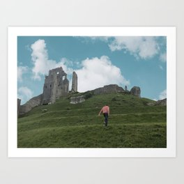 Corfe Castle and the Sky medieval Art Print