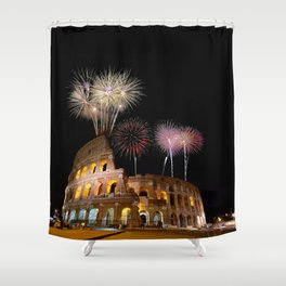 Colosseum illuminated with fireworks in Rome. Shower Curtain