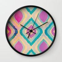 ikat Wall Clocks featuring URBAN IKAT by Nika