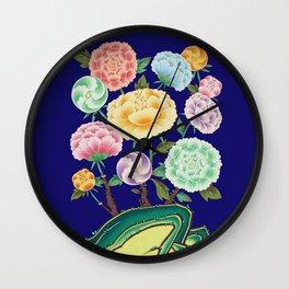 Minhwa: Peony Flowers and Rock Type D (Korean traditional/folk art) Wall Clock