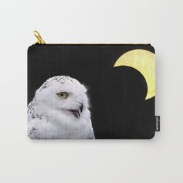 Snowy Owl Crescent Moon Photograph - Clarity in the Darkness Carry-All Pouch