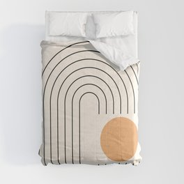 Geometric Lines in Gold and Black 9 (Rainbow and Sun) Comforters
