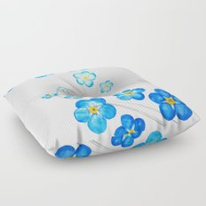 blue forget me not watercolor 2017 Floor Pillow