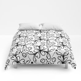 Pentagon Flower Black & White Comforters