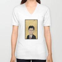 kafka V-neck T-shirts featuring Kafka by Pendientera