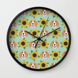 Beagles pattern floral sunflowers dog breed beagle art pet portrait pet friendly dog art Wall Clock