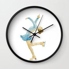 Girl in blue dress. Figure skater. Wall Clock