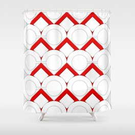 White Circles And Red Squares Abstract Geometric Pattern Shower Curtain