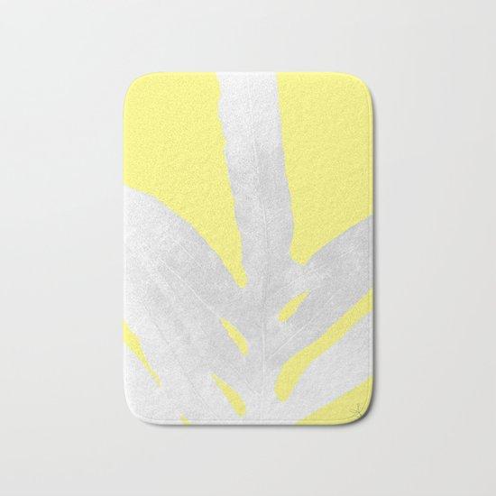 Green Fern on Lemon Yellow Inverted Bath Mat