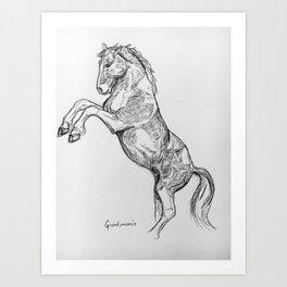 """ Rearing Horse"" Art Print"