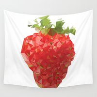 strawberry Wall Tapestries featuring Strawberry by Bidonville