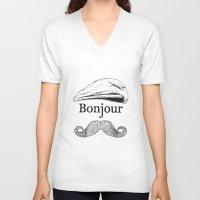 bonjour V-neck T-shirts featuring Bonjour by Jacob Waites