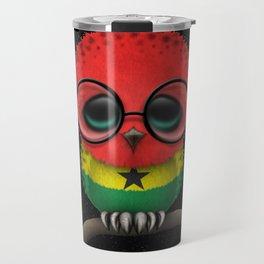 Baby Owl with Glasses and Ghana Flag Travel Mug