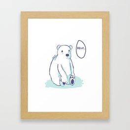 Sad Polar Bear Framed Art Print