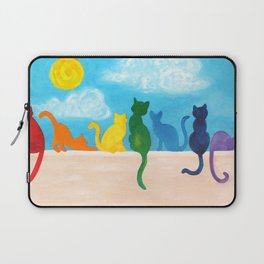 Rainbow Cats on a Wall Laptop Sleeve