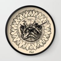 astronomy Wall Clocks featuring Astronomy Pug by beart24