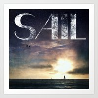 sail Art Prints featuring SAIL by Grafikki Shop