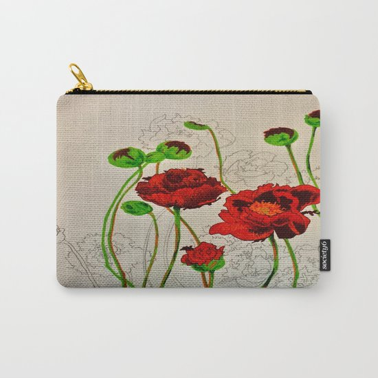 Very Red Flowers Carry-All Pouch