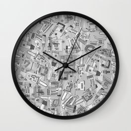 power tools black white Wall Clock