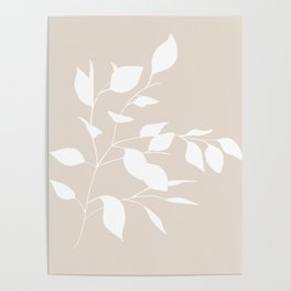 White & Buff Leaves Poster