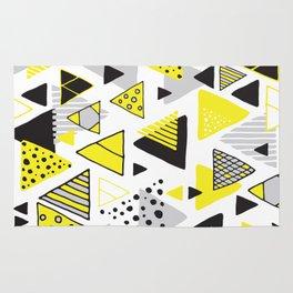 Triangles, random triangles (on white) Rug