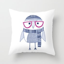 Hipster owl - pink glasses Throw Pillow