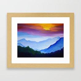Smokey Mountain Sunset Framed Art Print