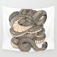 snake Wall Tapestries featuring Snake  by AW Illustrations