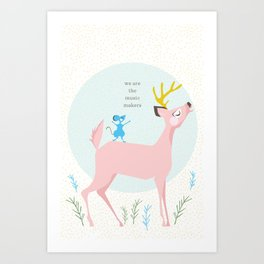 Deer and Mouse Singing Art Print