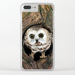 Baby Owl in Color Clear iPhone Case