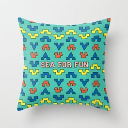 Sea for fun (green) Throw Pillow
