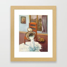 Don't cry over spilled milk Framed Art Print