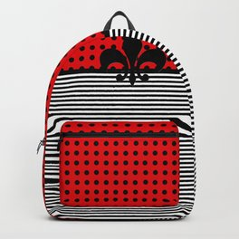 Cherry Red -  Dots and Lines Backpack