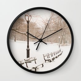 Snowing in Central Park Wall Clock