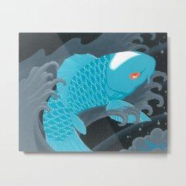 Love Koi Pastel Blue Metal Print