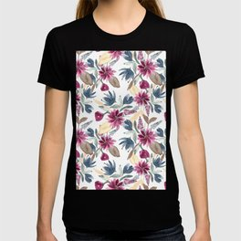 Burgundy Blue Brown Gold Watercolor Fall Flowers T-shirt