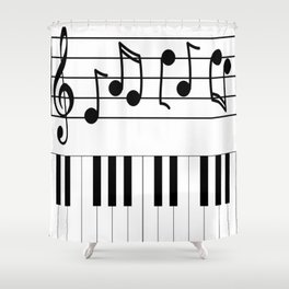 Music Notes with Piano Keyboard Shower Curtain
