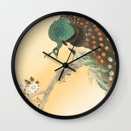 Peacock On A Cherry Tree - Vintage Japanese Woodblock Print Wall Clock