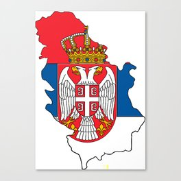 Serbia Map with Serbian Flag Canvas Print