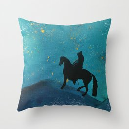 knight in blue Throw Pillow