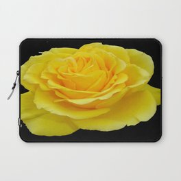 Beautiful Yellow Rose Flower on Black Background Laptop Sleeve