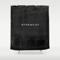 givenchy Shower Curtains featuring Givenchy Black  by Luxe Glam Decor