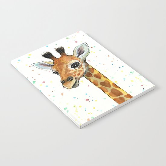 Giraffe Baby Animal with Hearts Watercolor Cute Whimsical Animals Nursery Notebook